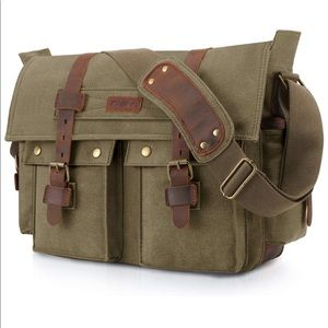 NEW Military Messenger Bag Canvas/Leather